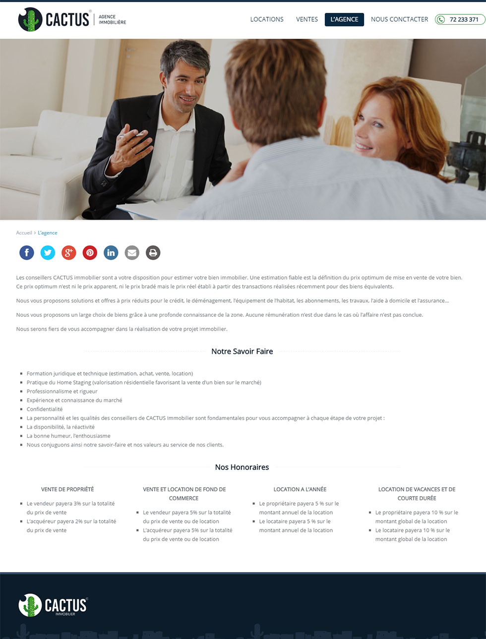 Webdesign Corporate, Cactus Immobilier, Agence Immobilière