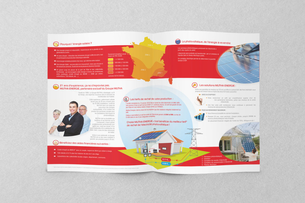 Conception brochure plaquette commercial porte document Mutha Energie Photovoltaïque France